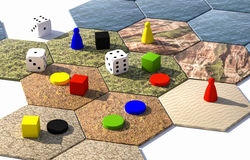 hexagonal board game 3d illustration Royalty Free Stock Photos