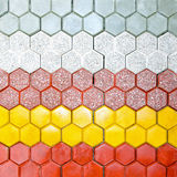 Hexagonal bricks. Hexagonal shape floor bricks made from concrete royalty free stock images
