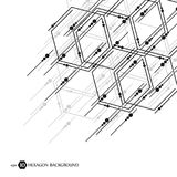 Hexagonal business pattern. Scientific medical research. Hexagons structure lattice. Geometric abstract background. Chemistry, science and technology concept Royalty Free Stock Images