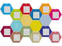 Hexagonal calendar 2011. Against white background, abstract vector art illustration Stock Images