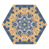 Hexagonal ceramic tile with magical floral pattern. Royalty Free Stock Photos