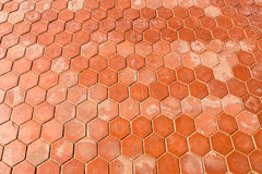 Hexagonal clay tiles texture background. Closeup of Cement floor in hexagonal clay tiles stock photos