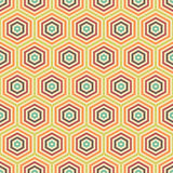 Hexagonal color cells. Seamless vector pattern. Abstract geometric background. Calm retro colors. Sample stylish modern fabric. Concentric nested shapes Vector Illustration