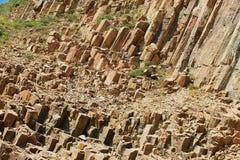 Hexagonal columns of volcanic origin at the Hong Kong Global Geopark in Hong Kong, China. royalty free stock photo