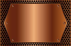Hexagonal copper plaque Royalty Free Stock Images