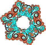 Hexagonal floral pattern. Abstract hexagona red-cyan pattern with floral ornament Stock Photos