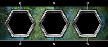 Hexagonal Frame on the Grunge Wall Stock Image
