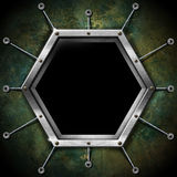 Hexagonal Frame on the Grunge Wall Royalty Free Stock Photos