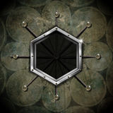 Hexagonal Frame on the Grunge Wall - circles Stock Images