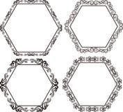 Hexagonal frame. Set of hexagonal frames - vector illustration Stock Photo