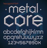 Hexagonal futuristic metallic beveled bold font. Alphabet, english letters and numbers in modern geometric style. vector illustration