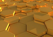 Hexagonal golden blocks. Abstract background of golden hexagonal blocks Stock Images