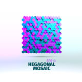 Hexagonal graphic element. Vector grid of hexagons. 3d illustration. For web or printing royalty free illustration