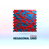 Hexagonal graphic element. Vector grid of hexagons. 3d illustration. For web or printing vector illustration