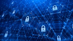 Hexagonal grid and padlocks -Technology security concept background Royalty Free Stock Photo