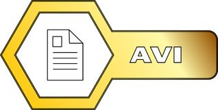 Hexagonal icon for AVI files - vector. An icon for AVI files with hexagonal shape - vector Stock Image