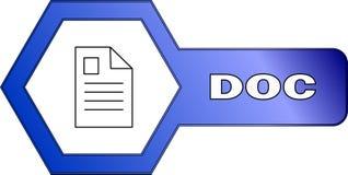Hexagonal icon for DOC files - vector. An icon for DOC files with an hexagonal shape - vector Royalty Free Stock Photo