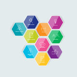 Hexagonal icon set. Royalty Free Stock Images