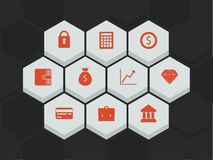 Hexagonal icons Stock Photography