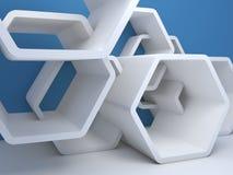 Hexagonal installation near blue wall. 3d Stock Photo