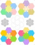 Hexagonal jigsaw puzzles stock photos