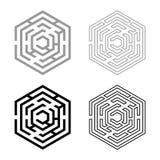 Hexagonal Maze Hexagon maze Labyrinth with six corner icon set black color vector illustration flat style image. Hexagonal Maze Hexagon maze Labyrinth with six vector illustration