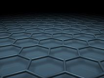 Hexagonal mesh structure. Blue toned 3d. Illustration Royalty Free Stock Images