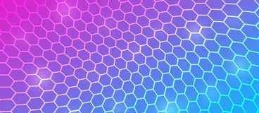 Abstract Curving Hexagonal Mesh in Pink, Blue and Purple Background. Abstract pink, blue and purple background with bending hexagonal metal mesh texture for web royalty free illustration