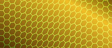 Abstract Curving Hexagonal Mesh in Golden Background royalty free illustration