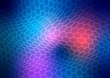Abstract Shining Warping Hexagonal Mesh Texture in Blue, Red and Purple Background. Abstract pink, blue and red background with bending hexagonal metal mesh vector illustration