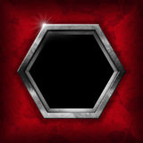 Hexagonal Metal Frame with Red Roses Royalty Free Stock Photo