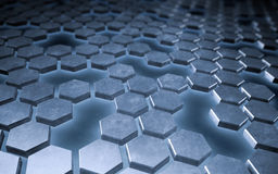 Hexagonal metallic plates Royalty Free Stock Photography