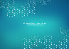 Hexagonal molecule. Molecular structure. Genetic and chemical compounds. Chemistry, medicine, science and technology. Concept. Geometric abstract background Royalty Free Stock Photos