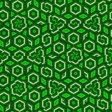Fragments of hexagonal mosaic in green color continuous pattern vector illustration