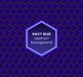 Hexagonal navy blue abstract background Stock Photos