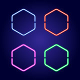 Hexagonal neon glowing frames in different colors vector illustration Stock Photography