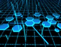 Free Hexagonal Network Intelligent Technology, Network Security And Protection, Big Data Transmission And Storage Stock Photo - 182320440