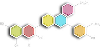 Hexagonal organic chemistry formula chart Stock Image