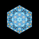 Hexagonal oriental tile isolated on black Royalty Free Stock Image