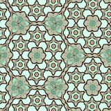 Continuous hexagonal pattern with floral elements stock images