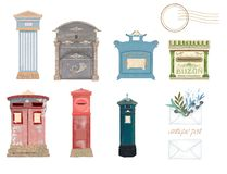 Victorian Pillar Box, UK, Spain, Italy, Germany, Japan mail. Post and dove Peace and love stock images