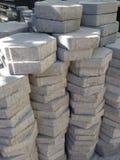 Hexagonal pieces of concrete Stock Photos