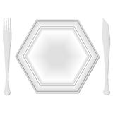 Hexagonal plate and dishes Royalty Free Stock Photography