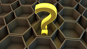 Hexagonal and questioning Cube decision. 3d Hexagonal and questioning Cube decision Royalty Free Stock Images
