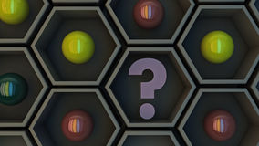 Hexagonal and questioning decision. Hexagonal and questioning spheres decision Royalty Free Stock Image