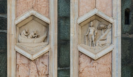 The hexagonal Reliefs on the Giottos Campanile. Florence Royalty Free Stock Photos