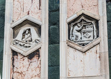 The hexagonal Reliefs on the Giottos Campanile. Florence Stock Photo