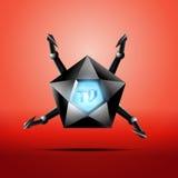 Hexagonal screen TV with metal tentacles Stock Images