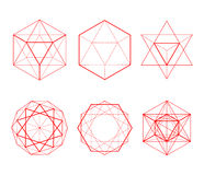 Hexagonal shapes set. Crystal forms. Winter design elements. Hexagons vector illustration. The red lines on a white background Royalty Free Stock Image
