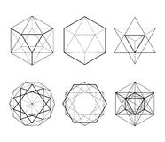 Hexagonal shapes set. Crystal forms. Winter design elements. Hexagons vector illustration. On a white background. Drawing. Types of crossings. Geometry Stock Photos